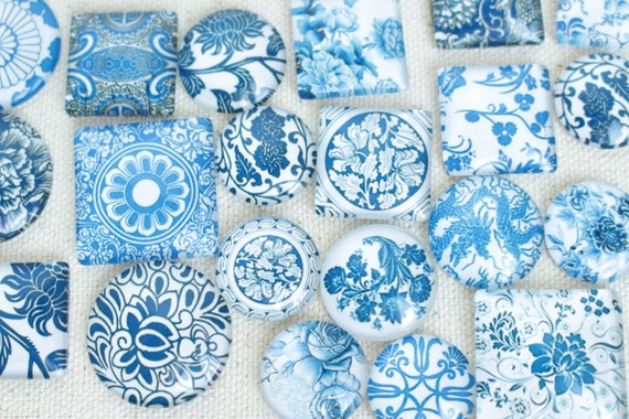 Mixed Size Mixed Shape Blue And White China Glass Magnet Set
