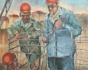 Vintage oil painting construction workers