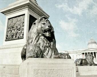 London Photography, Trafalgar Square, Lions, London Print, Travel Photo, Europe, Neutral Decor, blue, cream, Wall Art, Statue, London Print