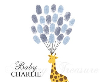 Baby Shower Guest Book Alternative Giraffe Baby Shower Giraffe Thumbprint Guestbook Giraffe Fingerprint Guestbook Giraffe Baby Shower