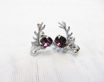 Vintage Purple Amethyst Silver Scottish Mizpah Deer Original Pad Screw On Earrings Women's Jewellery