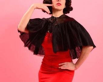 Ultra glamorous and black organza 1950's I. Magnin capelet • 50's bolero cape