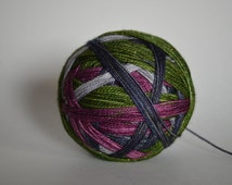 "Dyed to Order: ""McGonagall (4 color self-striping)"" - Plum Purple, Silver Gray, Dark Gray Blue, Avocado Green Stripes"