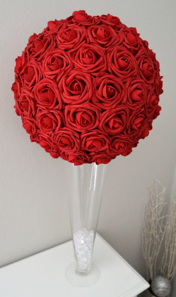 RED Flower Ball WEDDING CENTERPIECE Kissing Pomander