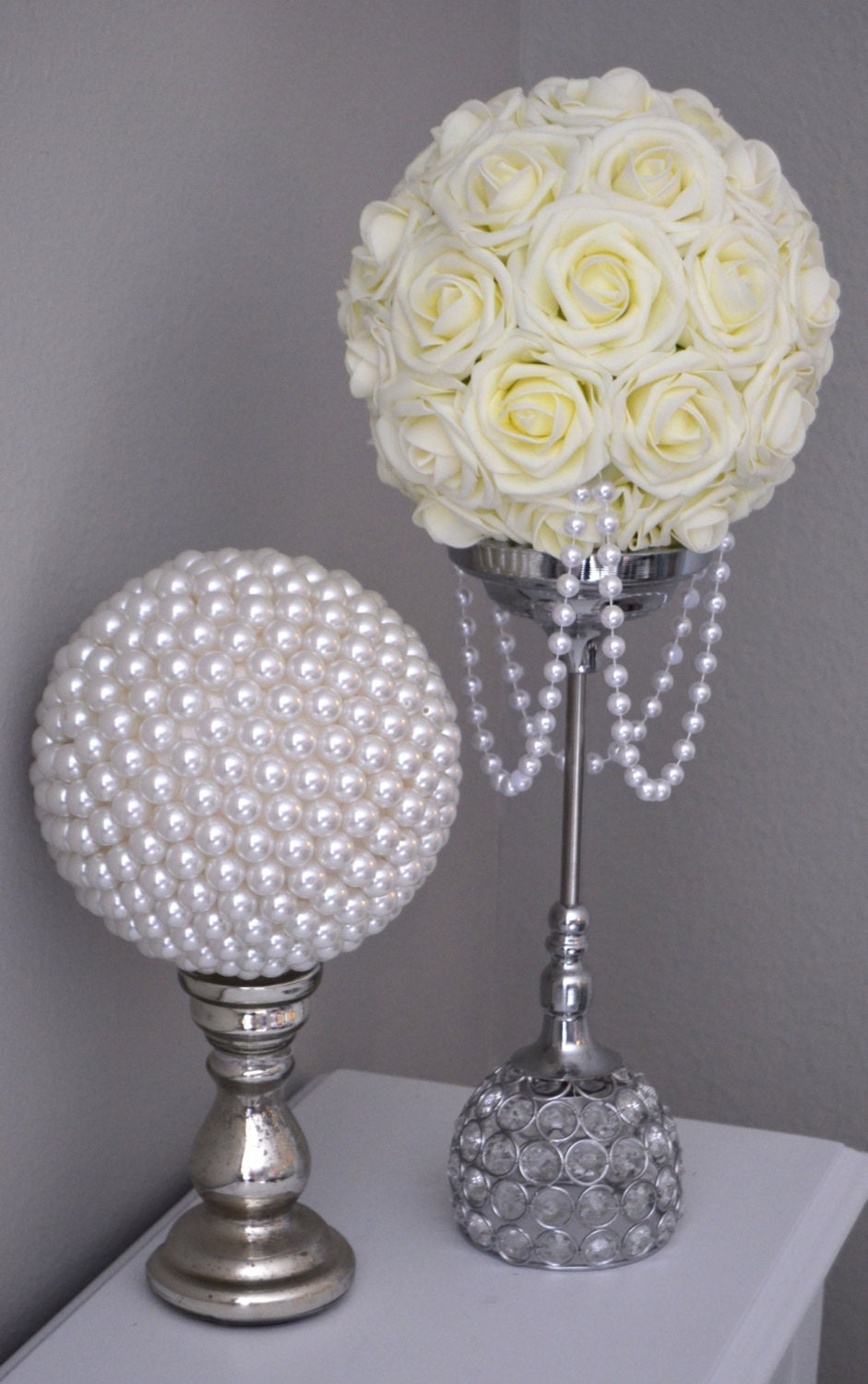 pearl wedding decor ivory flower with draping pearls wedding decor bridal 6423