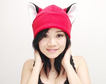 Red Fox Hat - Fox Fleece Hat - Naruto Red Fox Hat - Fox Beanie Hat - Animal Hat - Fox Ear Hat - Fox Toque Hat - Fox Cosplay - Fox Anime Hat