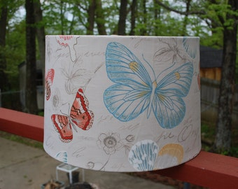 Butterfly Beige, Aqua, Coral and White Lamp Shade With Script Butterflies
