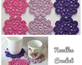 Coasters, doily, crochet, doilie crochet coasters, flowers, doily flower coasters, set of 6