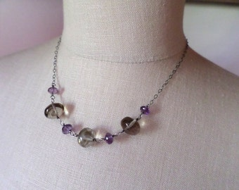 Amethyst Silver Necklace ~ Smoky Quartz Sterling Necklace ~ Amethyst and Smoky Quartz ~ Oxidized Silver Necklace ~ Gemstone Silver Necklace
