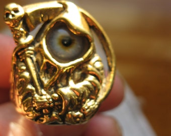 Gold Plated Grim Reaper Ring With Eye, Size 10 3/4