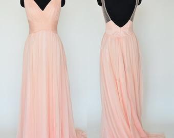 Pink Prom Dress Sweep length train,Crinkle Chiffon(ZS#4) Bridesmaid Dresses,V-Neck A-line Bridesmaid Dress