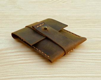 Practical Men's Card Holder, Leather Credit Card Case, Mini Leather Wallet for Men