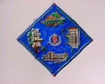 Scenes Of Monaco Hankie Vintage Blue Silk Handkerchief Monte Carlo Casino Royal Palace Of The Prince Novelty Souvenir Crest Designs