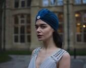 Navy Blue Silver Rhinestone Embellished  Feather Turban Vintage Flapper Dress 1920s 1930s Headpiece Diamante Great Gatsby Hat Cloche Q18