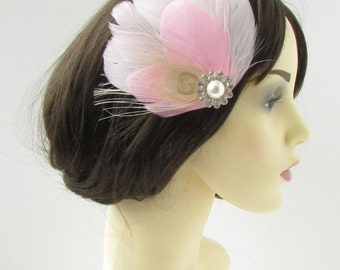 White Silver Blush Pink Cream Feather Fascinator Hair Clip Bridal Silver Vtg 9AT