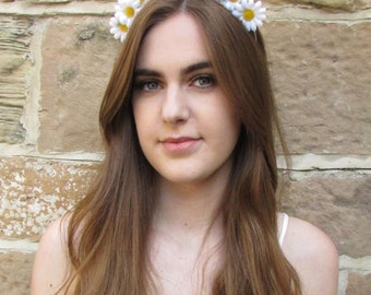 Small Daisy Flower Hair Crown White Yellow Garland Boho Headband Festival V94