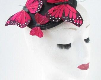 Red & Black Butterfly Fascinator Hair Clip Unique Headpiece Races Vintage 3AN