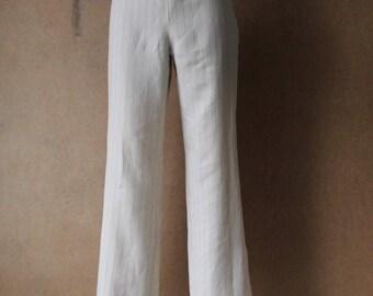 GF FERRE Rayon High Waist Pants Ivory Whte Gray Striped Women's Pants Small Size