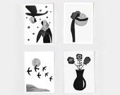 "Art print set, set of 4 art prints, minimalist print set, black and white prints, photo collage, mixed media art, minimalist art, 5X7"""