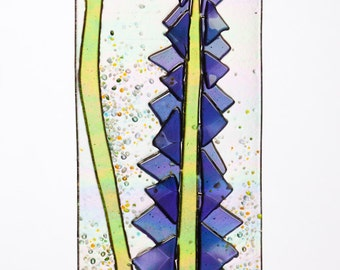 Handmade Periwinkle Lupine Flowers Spring Suncatcher Ornament on Rainbow Iridescent  Fused Glass