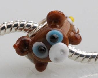 Brown Pig Murano Lampwork Glass Bead