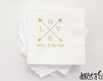 Wedding Arrows Personalized Wedding Napkins • Monogrammed Party Accessories • Weddings • Bridal Showers • Engagement • Hot Stamp Foil