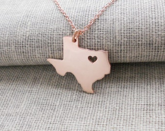 TX State Necklace Rose Gold, Texas State Necklace with A Heart ,State Shaped Necklace,Personalized Texas State Necklace 925 Sterling Silver