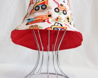 "Reversible Babies Bucket Hat - ""Construction Trucks"" with red, made to order, sunhat, babies hat"