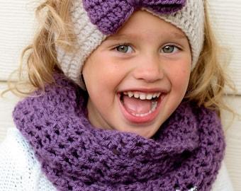 Toddler Ear Warmer Baby Toddler Child Purple Bow Crochet Headband