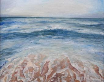 "Crashing Waves on Beach, Original Oil Painting, 16""x20"""