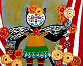 Day of the Dead Circus Kitty Original Canvas Folk Art Painting 8x10 by Jeanne Fry