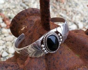 Sterling Silver Black Onyx Cuff Bracelet