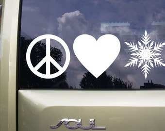 Peace, Love and Winter, vinyl decal, hp laptop sticker, home decor, macbook sticker, car decal, window sticker, snowflake decal