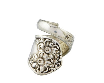 Spoon Ring, Apple Blossom ( 1906 Silverplate) by William Rogers & Son, Silver Spoon Jewelry, Handmade, Spoon Jewelry, Antique Spoon Ring