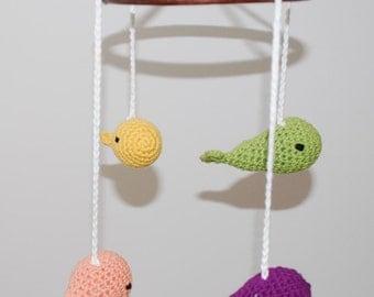 Crochet mobile whales (purple/green/yellow/orange)