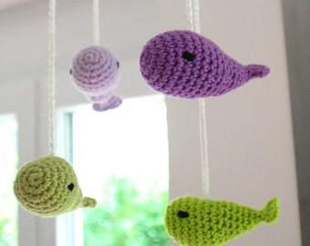Crochet mobile whales (green/purple)