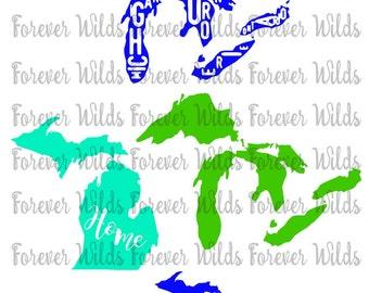 Michigan Car Decal - Michigan Decal - Michigan Sticker - MICHIGAN SVG - Digital Download - great lakes decal - michigan with lakes - svg