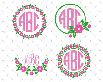 Flower Monogram Frame SVG Cut Files, Flower Wreath svg files for Cricut, cut files for Silhouette and other Vinyl Cutters, svg files #svg