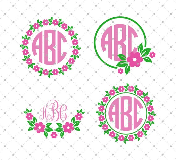flower monogram frame svg cut files flower wreath svg files