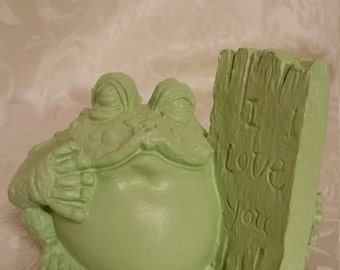 Lovable Pistachio Frog Figurine.