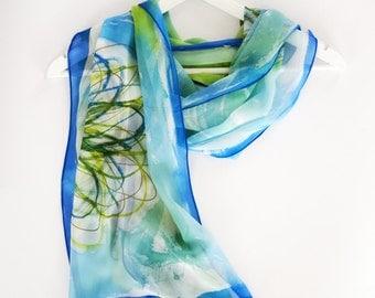 Green floral silk scarf,unique silk scarves,hand painted silk scarf,silk scarf handpainted,unique handmade scarves,Large green scarf AnaSilk