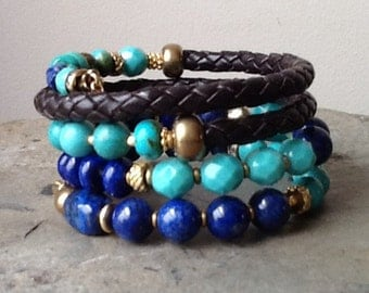 Turquoise and Lapis with Leather Memory Wire Bracelet