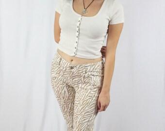 Funky Golden Zebra Print Denim Pants Jeans Wit a lil Stretch