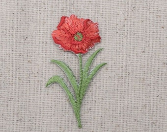 Poppy Flower - Small - Red - Iron on Applique - Embroidered Patch - 694937-A
