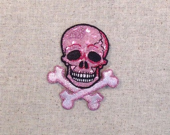 Skull with Crossbones - Pink - Shimmery - Iron on Applique - Embroidered Patch - 156460B