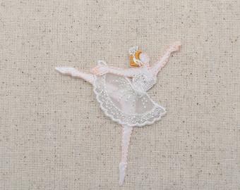 Ballerina - Ballet Dancer - White Dress - Iron On Applique - Embroidered Patch - 695721-C