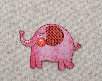Childrens - Pink Elephant - with Rosy Cheeks - Iron on Applique - Embroidered Patch - 1515613A