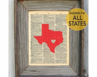 Dictionary Print. Choose ANY State. Add a Heart & Text. 11 Color Choices. Dictionary Art.
