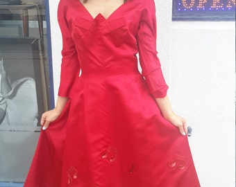 FREE SHIPPING! Harvey Berin for Karen Stark vintage red satin 1950 circle dress with sequin music notes. for women size 4 or 6