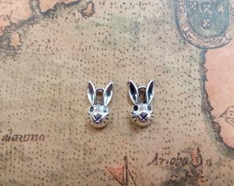 20pcs 5x8x14mm Antique Silver Mini Buck Rabbit Head Charms Pendant A